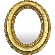 Small Antique Gilded Oval Mirror 12.25""