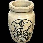 "Antique stoneware jar advertising Virol A preparation of Bone Marrow, an ideal fat food for children & invalids .3.25"" Tall"