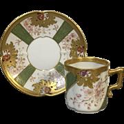 Fine Fischer & Mieg Decorated Demitasse Cup & Saucer