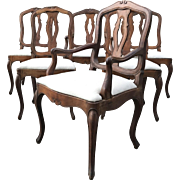 Set of 6 19th Century French Louis XV Walnut Dinning Room Chairs