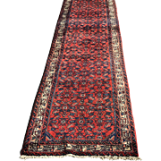 Vintage Persian Hamadan Hand Made Wool Runner  13.5' by 33""