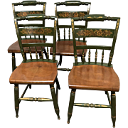 Set of 4 Hitchcock Side Chairs Painted in Green