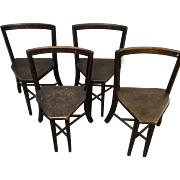 Set of 4 Frank Rieder Oak Seatmore Side Chairs Ice Cream Parlor Chairs