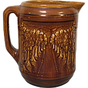 Bennington Rockingham Brown Glaze Pitcher W/ Forest Road Mountain High Relief