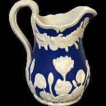 Rare 19thC Bennington Pottery Parian Pitcher Blue Glaze in Pond Lily pattern