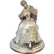 Dresden Lace Porcelain Figurine of Seated Woman Feeding Birds
