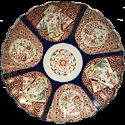 Round Japanese Porcelain Charger Platter Scalloped Rim