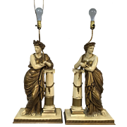 Pair of Monumental Cast Metal Roman Figure Table lamps 50""