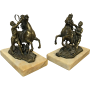 Pair of Antique Brass Marly Horses After Nicolas Coustou Boodkends Horse Tamers