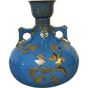 Beautiful Antique English Crown Derby Vase in Blue With Gold Decoration