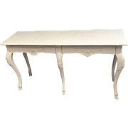 Baker Furniture Co. Sofa table 2 Drawers W/ Shell Decoration White Rococo Style