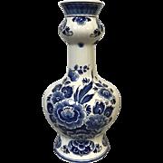 "Vintage Delft Pottery Vase Blue & White Flower Decoration 11"""