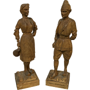 Pair of Wooden Carved Dutch Figures In Traditional Customs