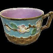 Rare George Jones Majolica Cup Basket & Cherry Blossom