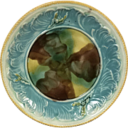 Rare 19th Century English Majolica Plate Shell Decorated Oyster Shell Iridescent