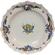 18th Century French Faience Plate With Flag Crest Scalloped Rim
