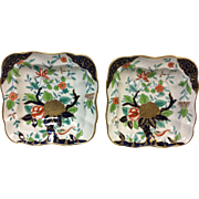 Pair of Early 19th C English Derby Imari Style Square Serving Bowl