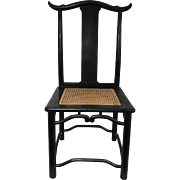 Set of 8 Chinese Black Lacquered Chairs With Caned Seats