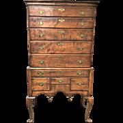 18th Century New England Tiger Maple Queen Anne Highboy