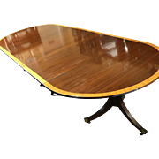 English Triple Pedestal Mahogany Dining Table With Banded Inlaid