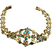 18k Yellow Gold Filigree Bracelet W/ Turquoise & Black Pearl W/ European HallMark