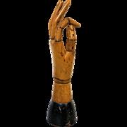 Antique Articulated Wooden Artist's Model Hand Mannequin