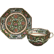 Chinese Porcelain Rose Medallion Octagon Cup & Saucer (10 available) ER