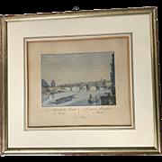 Circa 1830 Aquatint Etching of Berlin Bridge