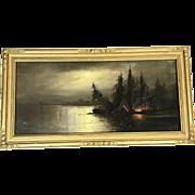 William Chandler (1854-1928) Nocturne Campfire Pastel
