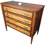 Circa 1810 Vermont Birdseye Maple & Cherry Sheraton Chest of Drawers W/ Banded