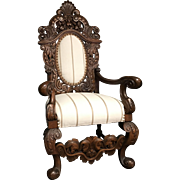 Antique Continental Renaissance Revival High Back Throne Chair
