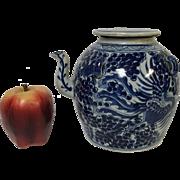Unusual Antique Chinese Porcelain Blue & White Teapot With Phoenix Bird Decoration