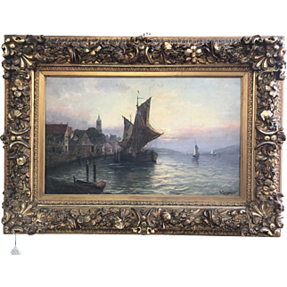 Italian 19th Century Oil on Canvas Signed V Comelli - Ship, Boat,  Harbor,