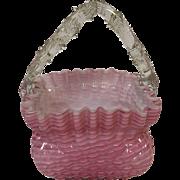 Antique Victorian Art Glass Stevens and Williams Thorn Pink Cased Handled Basket