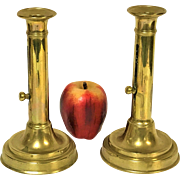 1780's Pair of English Brass Push Up Candle Sticks