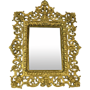 Victorian Art Nouveau Brass Frame With Beveled Mirror