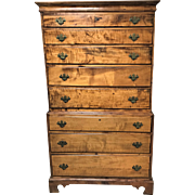 Late 1700's New England Tiger Maple Chest on Chest