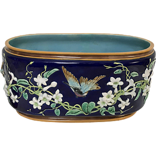 Large 19th Century George Jones Majolica Jardiniere Planter W/ Humming Bird
