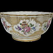 Large Dresden Porcelain Center Bowl W/ Hand Paint Flowers & Gold Decoration