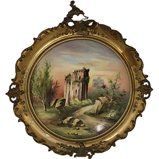Antique 19th Century Limoges Hand Painted Castle Plate in Antique Frame
