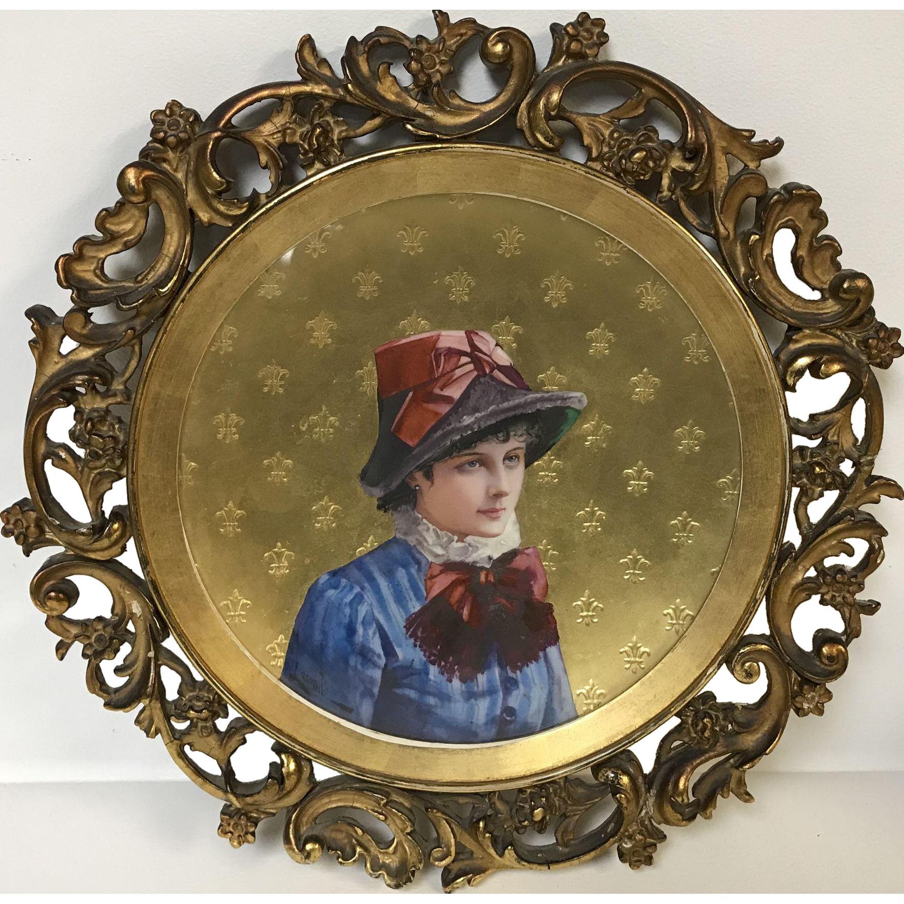 Signed Circa 1840's Fine Paris Porcelain Portrait Plate in Ornate Antique Frame