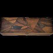 Antique Geometric Inlaid Wooden Box