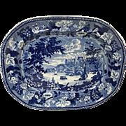 """Rare Historical Blue Staffordshire Meat Platter Windsor Castle 19"""""""