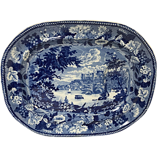 Rare Historical Blue Staffordshire Meat Platter Windsor Castle 19""