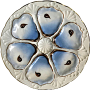 Antique French 6 Well Shell Oyster Plate Blue