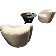 Pair of White Vladimir Kagan Swivel Club Chair