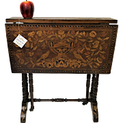 19th Century Dutch Inlaid Tuck-away Drop leaf Side Table