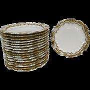 "Set of 17 Limoges Porcelain Rococo Gilt Rim 9.5"" Plate"
