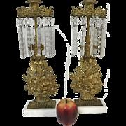 Pair of Victorian Gold Gilt Flower Basket Motif Girandoles Mantle Garniture Set with Snowflake Prisms