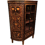 19th Century Dutch Marquetry Curio Cabinet